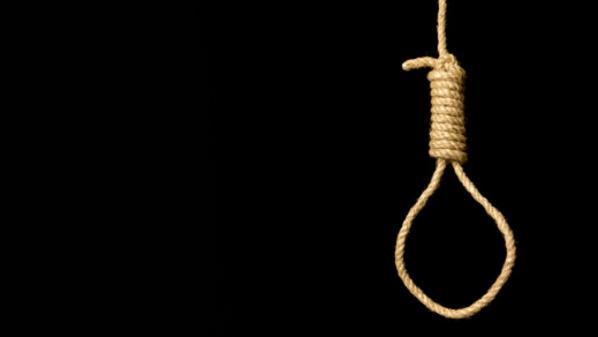 Hangman's noose on black background